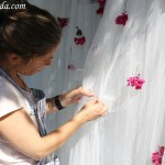 Maria adding flowers