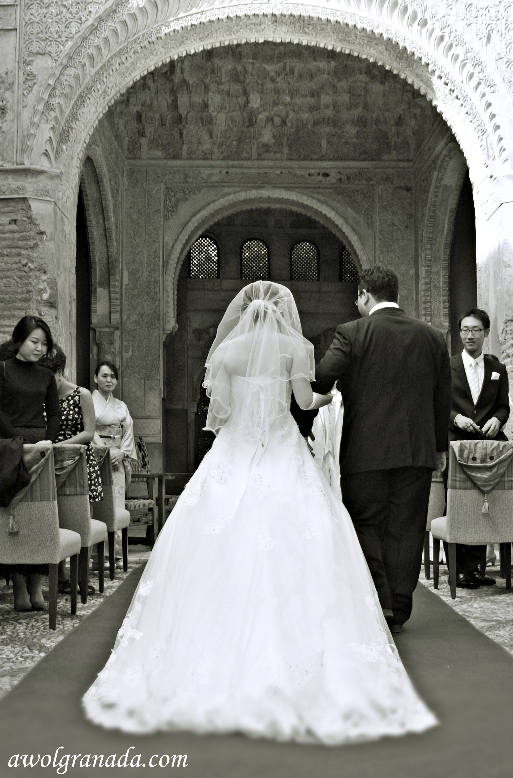 Japanese wedding blessings - Bride Walking Down The Aisle From The Back Wedding Granada Spain