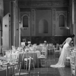 The Bride walking arround the tables. Hotel Palacio de Santa Paula, Weddings, Granada, Spain.