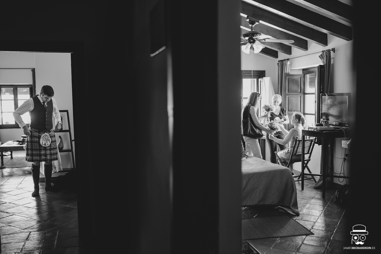 The Bride & Groom getting ready in adjacent rooms