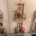 The wedding party on the balconies