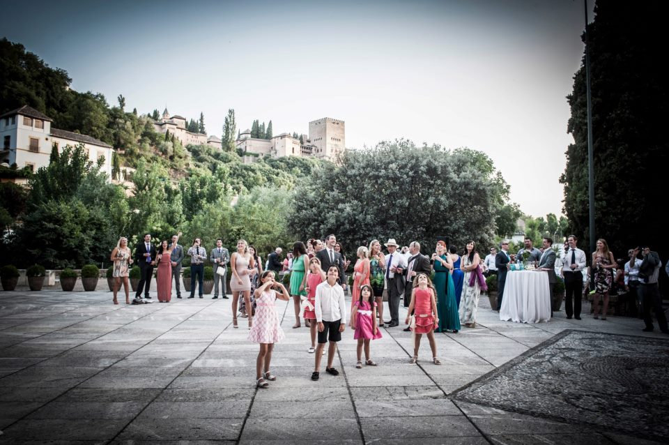 Wedding Cocktail with Alhambra Backdrop