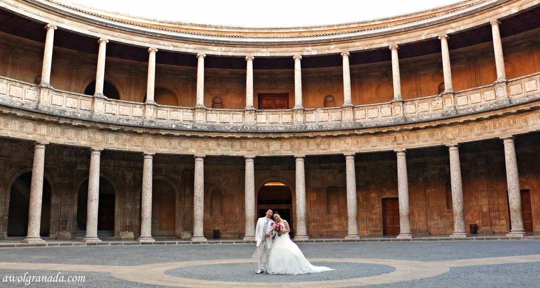 The Couple at Palacio de Carlos V. Weddings, Alhambra, Granada, Spain.