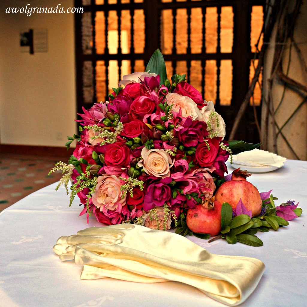 Flowers bouquet. Parador, weddings, Granada, Spain.