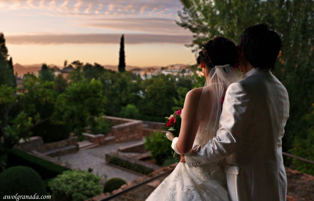 Sunset at the Alhambra, weddings, Alhambra, Granad, Spain.