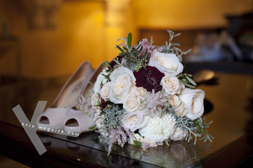 Bridal Bouquet and Shoes. Hotel Palacio de Santa Paula, weddings, Granada, Spain.