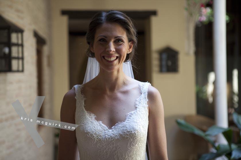 The Bride smiling. Hotel Palacio de Santa Paula, weddings, Granada, Spain.