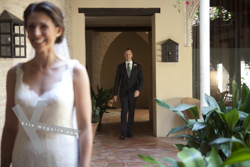 The Groom walking behind the Bride. Hotel Palacio de Santa Paula, weddings, Granada, Spain.