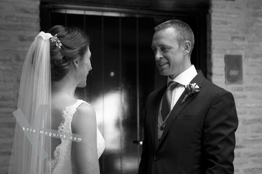 The Bride and the Groom facing each other. Hotel Palacio de Santa Paula, weddings, Granada, Spain.