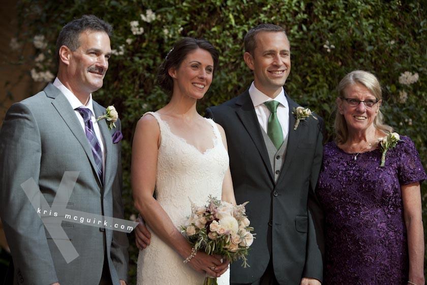 The Bride and the Groom with her Mum and Step Dad. Hotel Palacio de Santa Paula, Weddings, Granada, Spain.