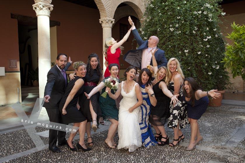 The Bride having fun with friends. Hotel Palacio de Santa Paula, Weddings, Granada, Spain.