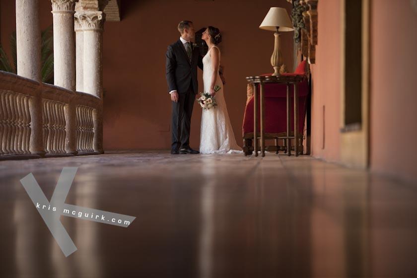 The Bride and the Groom looking at each other. Hotel Palacio de Santa Paula, Weddings, Granada, Spain.