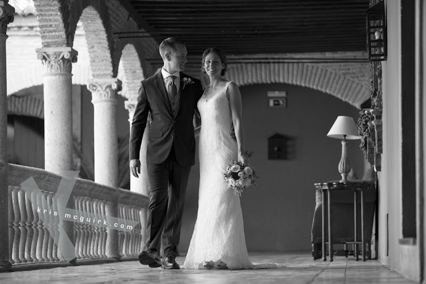 The Bride and the Groom walking together. Hotel Palacio de Santa Paula, Weddings, Granada, Spain.