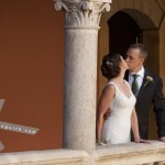 The Bride and the Groom kissing. Hotel Palacio de Santa Paula, Weddings, Granada, Spain.