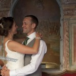The Bride and the Groom smiling at each other. Hotel Palacio de Santa Paula, Weddings, Granada, Spain.