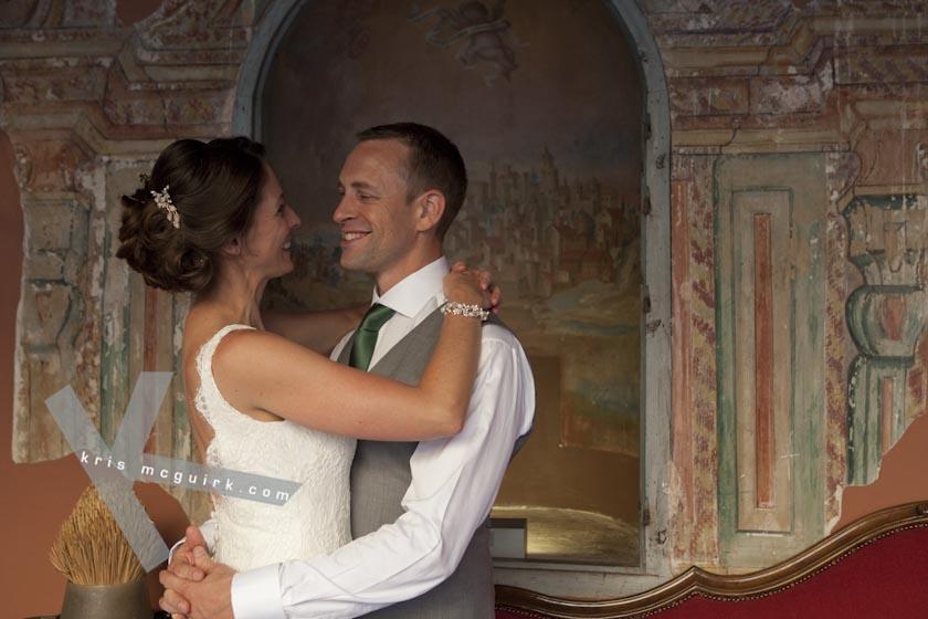 The Bride and the Groom smiling at each other. Hotel Palacio de Santa Paula, Weddings, Granada, Spain.