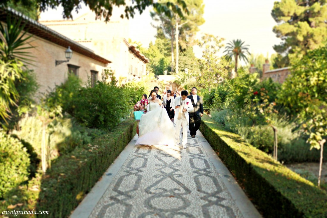 Walking to the Alhambra, weddings, Granada, Spain.