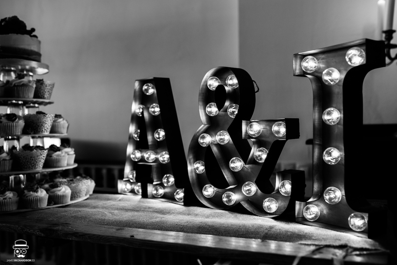 The Wedding Cake and Bride & Groom Initials in Lights
