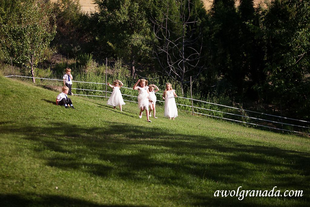 Flowergirls and pageboys playing