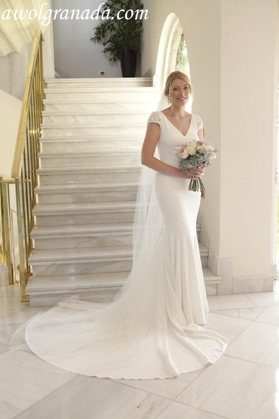 The Bride on her wedding dress