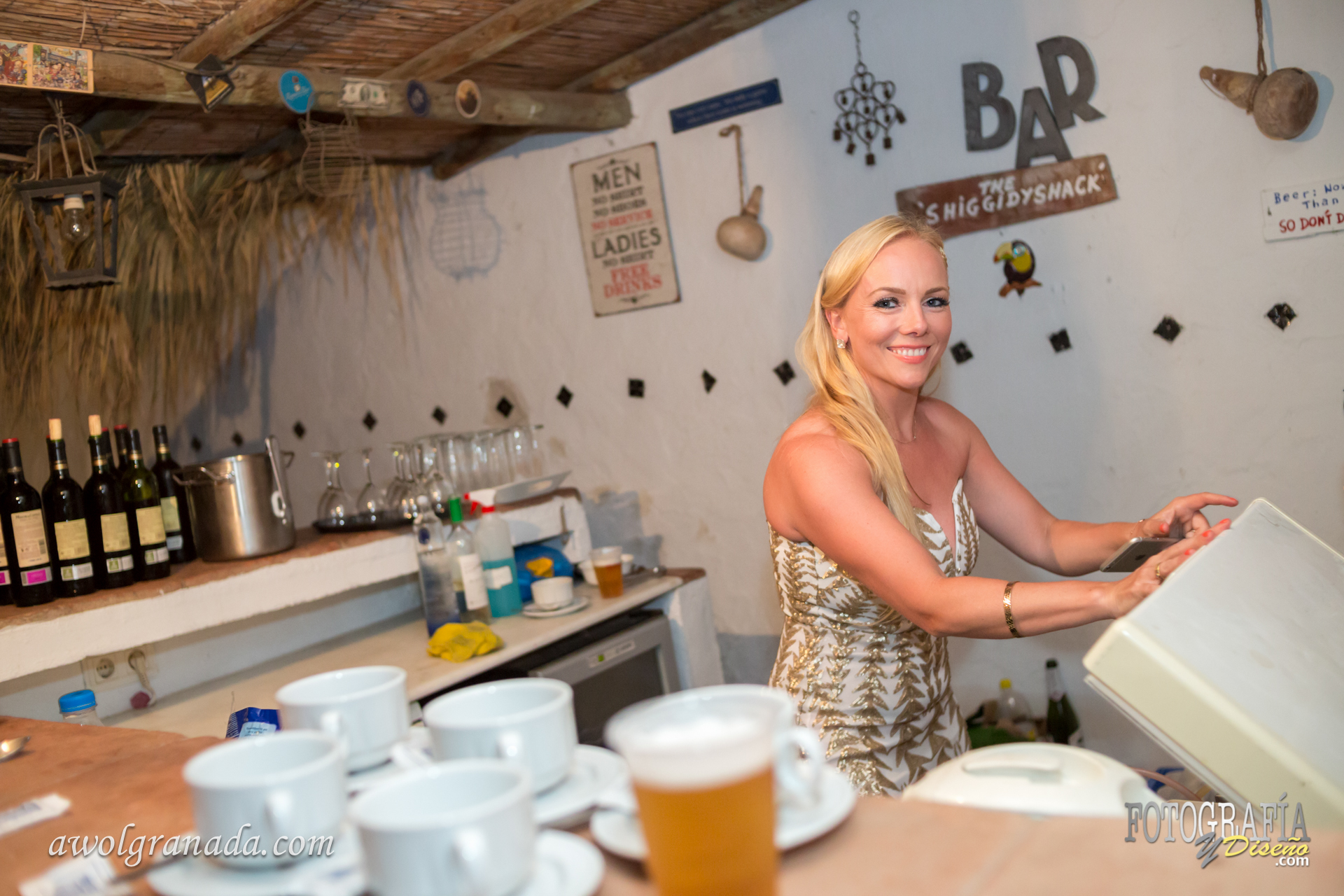 The Bride behind the bar