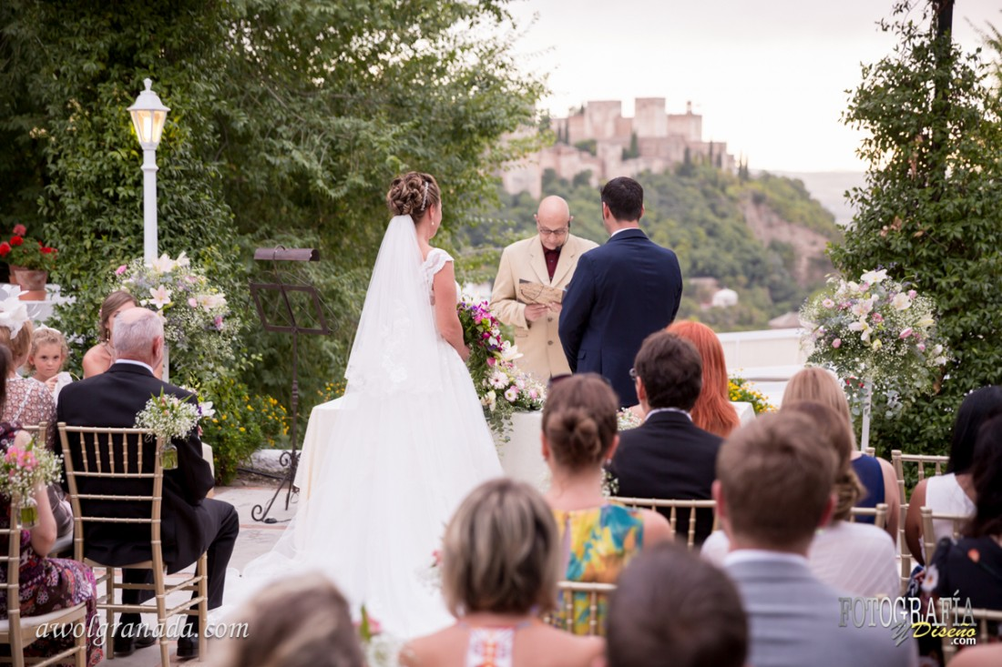 The Wedding Ceremony overlooking the Alhambra