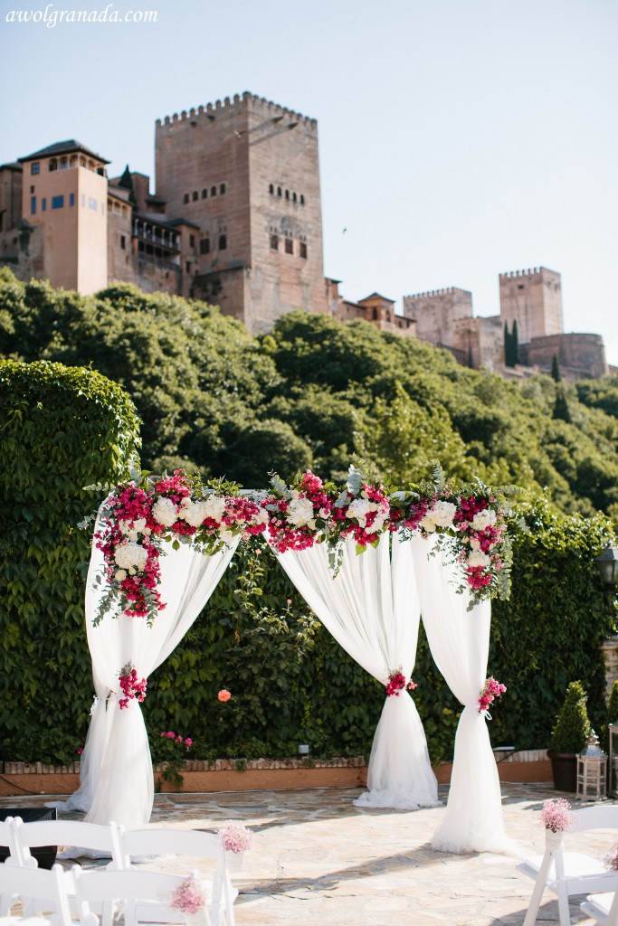 Wedding Ceremony with Alhambra backdrop
