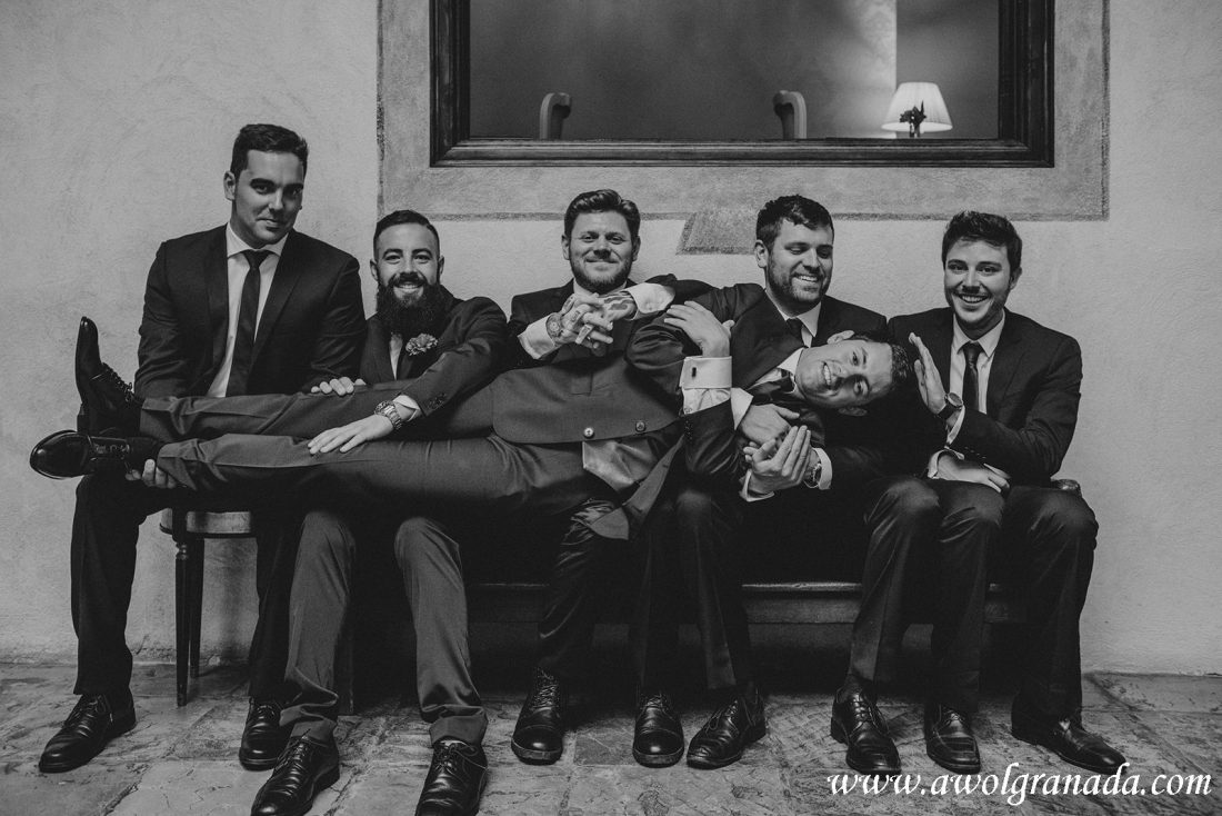 AWOL Granada Wedding Planner Spain Groom & Groomsmen having fun!