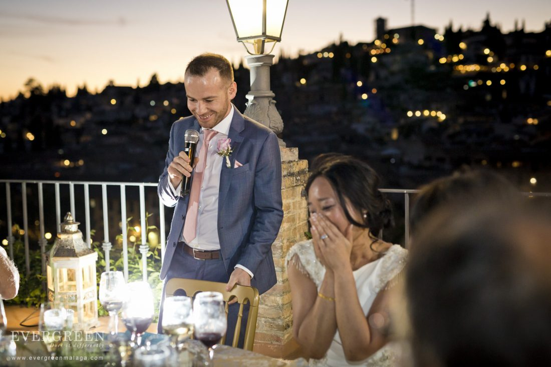 AWOL Granada, Wedding Planner, Spain - Wedding Speeches during sunset