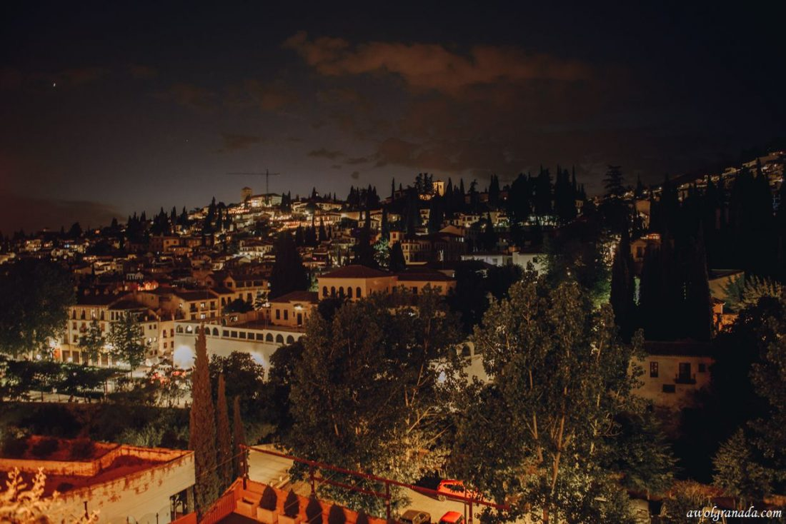 AWOL Granada, Wedding Planners, Spain Views of the Albaycin at night