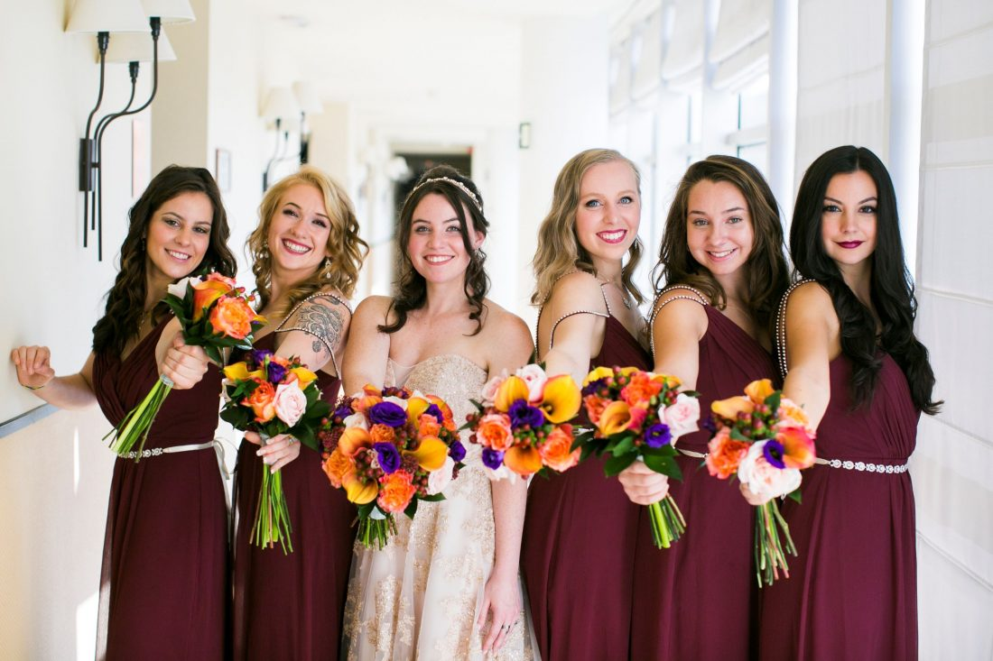 The Girls with their Bouquets.