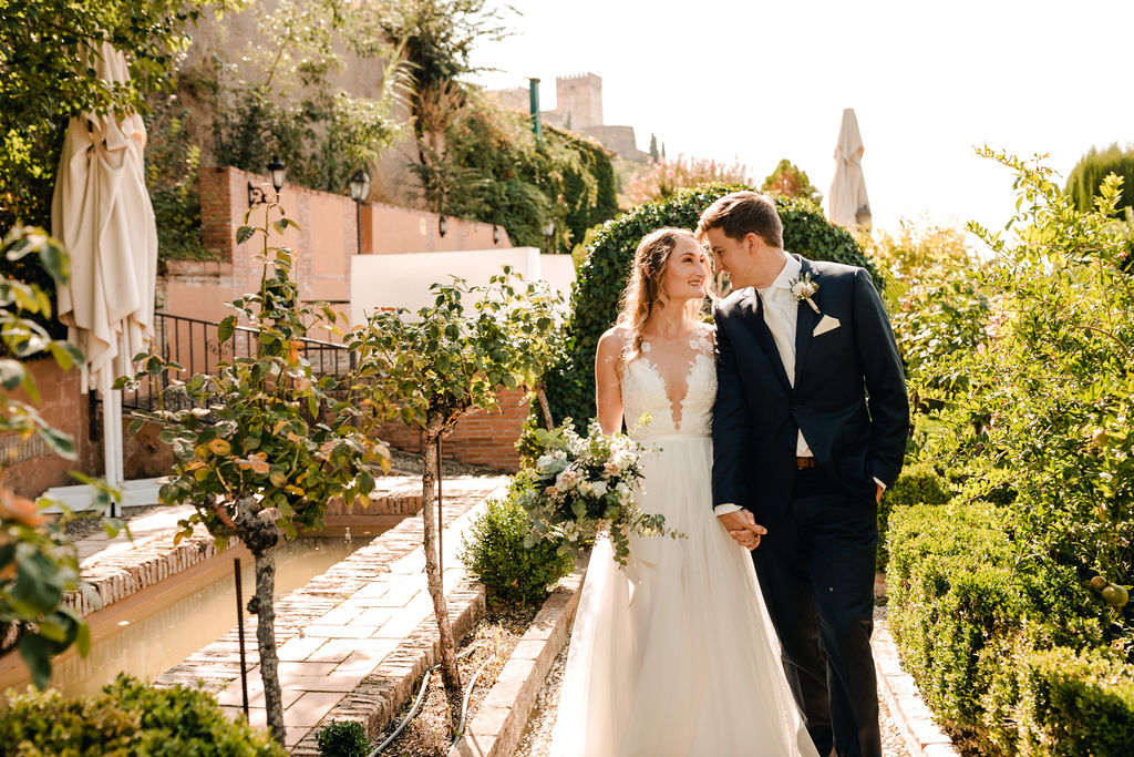 Romantic photo of the bride and groom - AWOL Granada Wedding Planner Spain