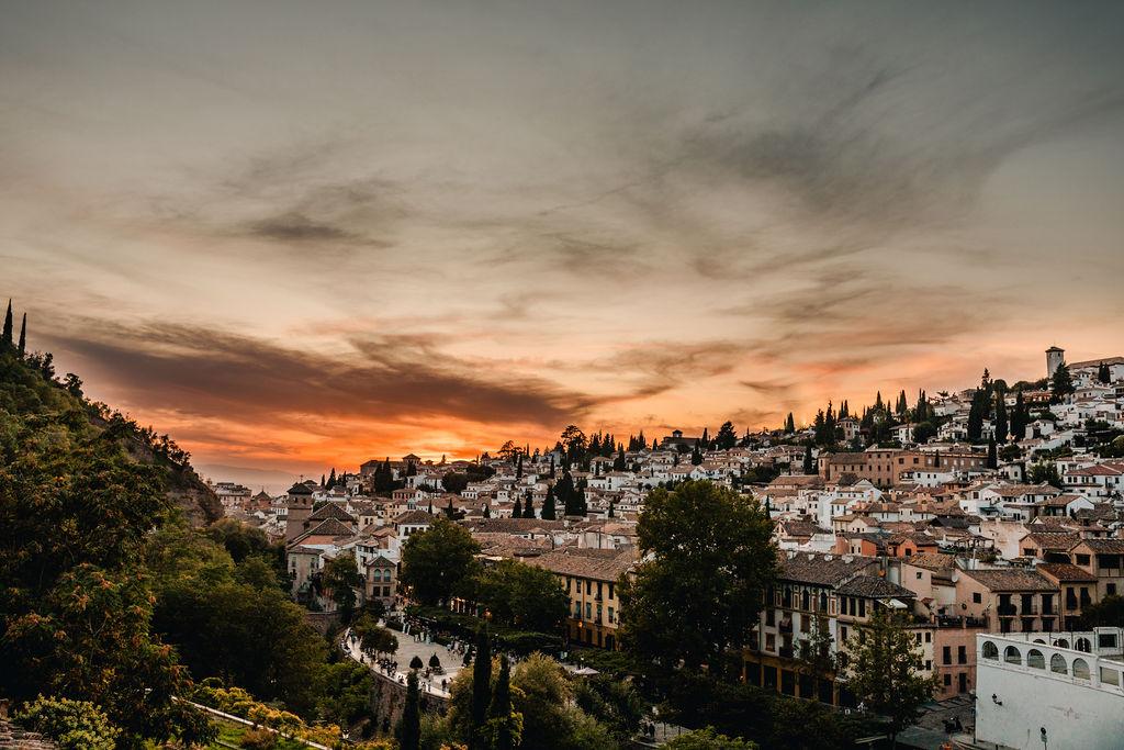 Sun set views from Chapiteles - AWOL Granada Wedding Planner Spain