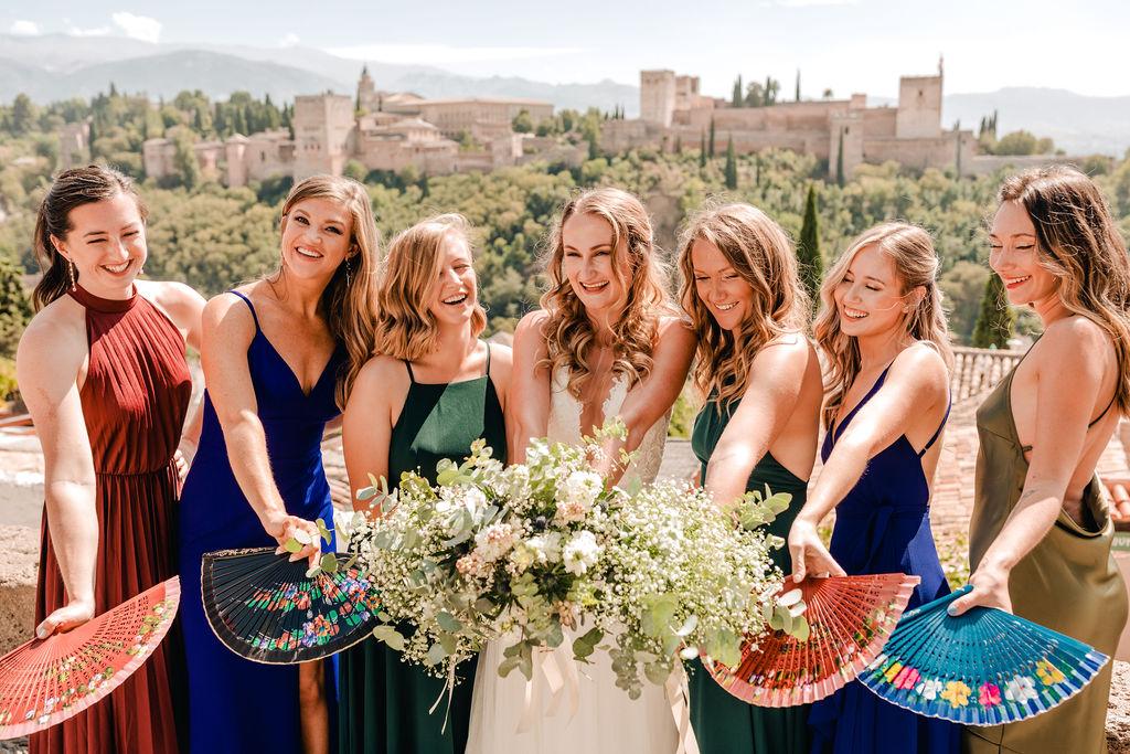 The bride and her bridesmaids at the Mirador de San Nicolas - AWOL Granada Wedding Planner Spain