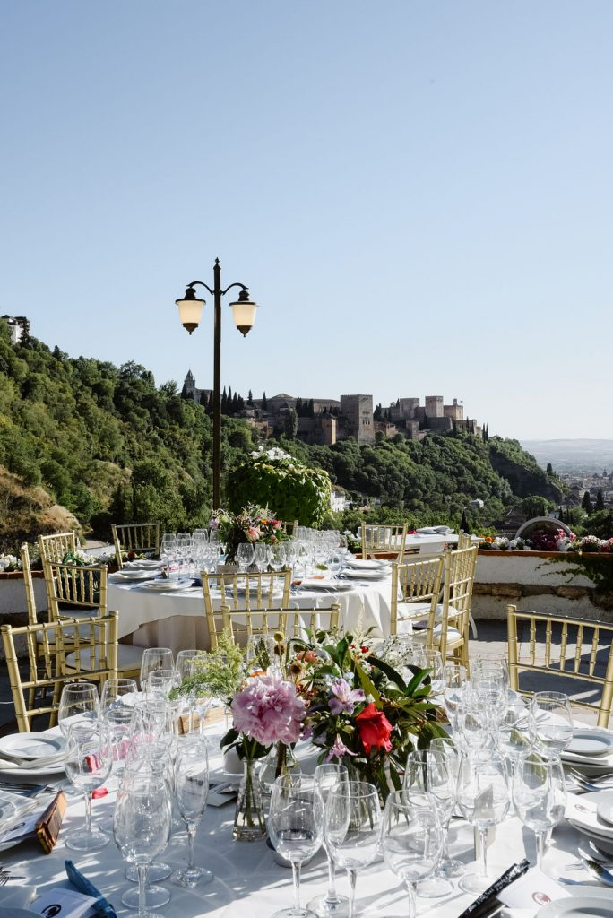 Beautiful Table settings on the terrace of La Chumbera - AWOL Granada, Wedding Planner, Spain
