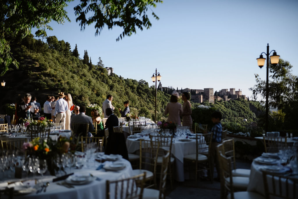 Cocktail hour on the terrace overlooking the Alhambra AWOL Granada Wedding Planner Spain